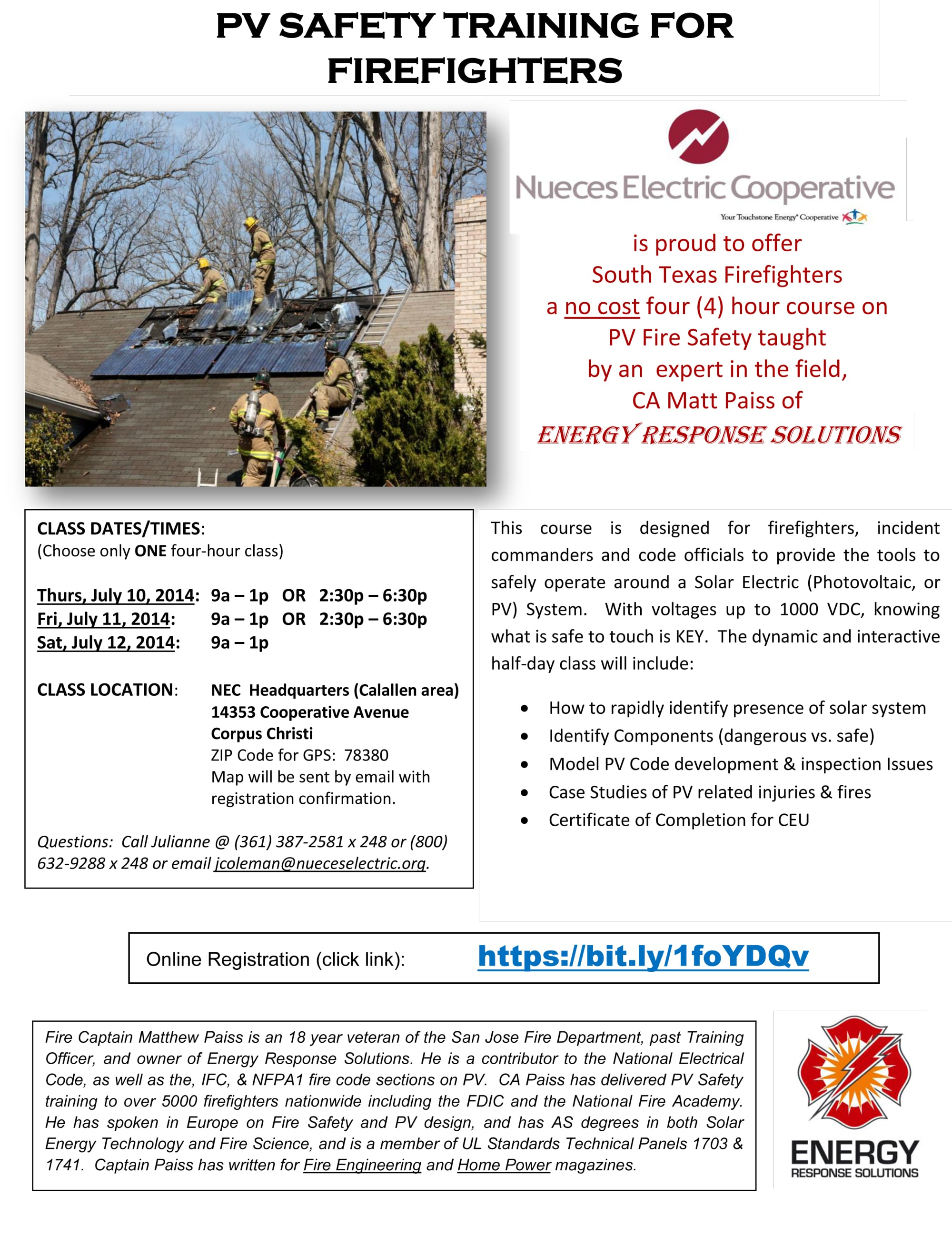 Fire Fighter Solar Safety Training Nec Co Op Energy